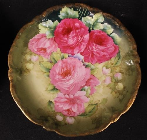 7 piece hand painted plates with flowers and gold - 2