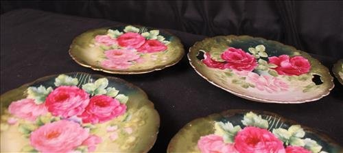 7 piece hand painted plates with flowers and gold - 3