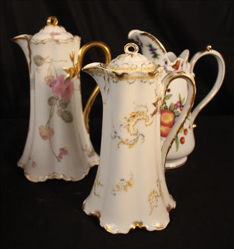 3 pieces, miscellaneous hand painted pitchers