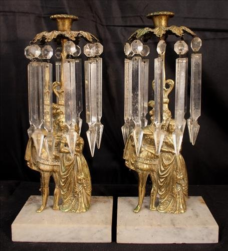 Pair brass and marble girandoles, missing center