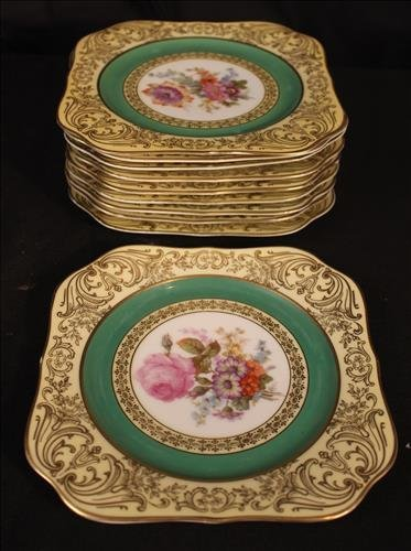 10 piece Bavaria dessert plates, hand painted