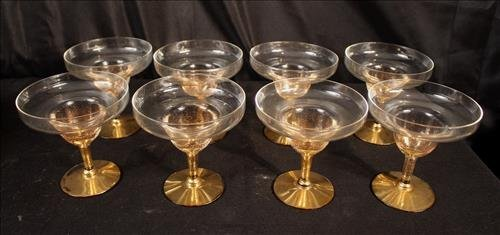 8 shrimp cocktail glasses  with gold accents