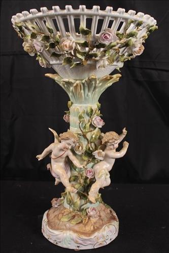 Meissen type center piece with cherubs and flowers