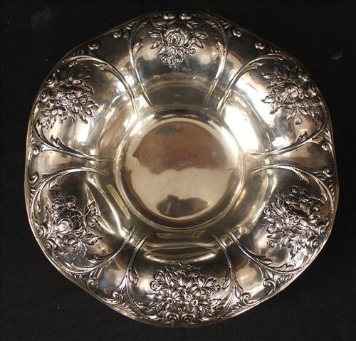 Sterling silver bowl with roses, 2 in. T, 10 in. Dia.
