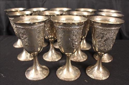 12 piece sterling silver goblets with monogram - 2