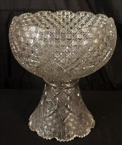 Brilliant cut glass punch bowl on stand