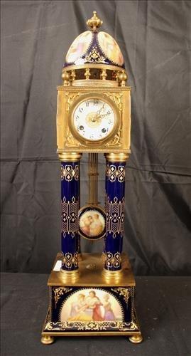 German porcelain and bronze pillow clock
