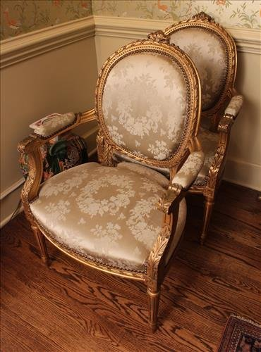 Pair French gold gilt parlor arm chairs
