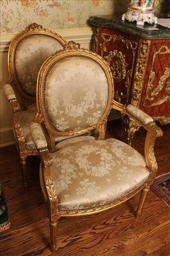 Pair French gold gilt parlor arm chairs - 2