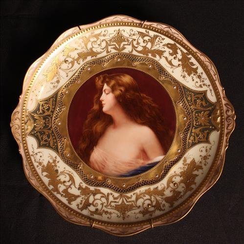 Royal Vienna hand painted plate with lady