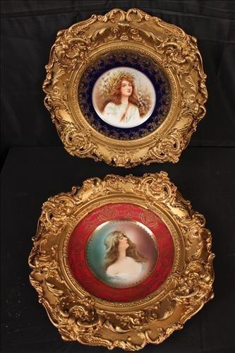 Pair Victorian framed plates in ornate gold frame