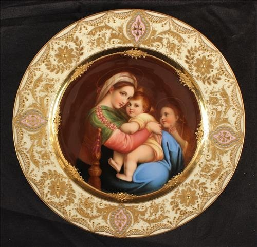 Hand painted Dresden plate of Madonna and child