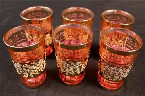 Set of 6 Victorian cranberry juice glasses, 4 in. T