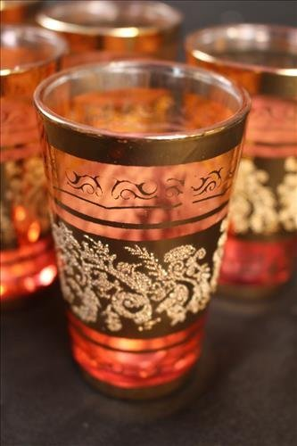 Set of 6 Victorian cranberry juice glasses, 4 in. T - 3