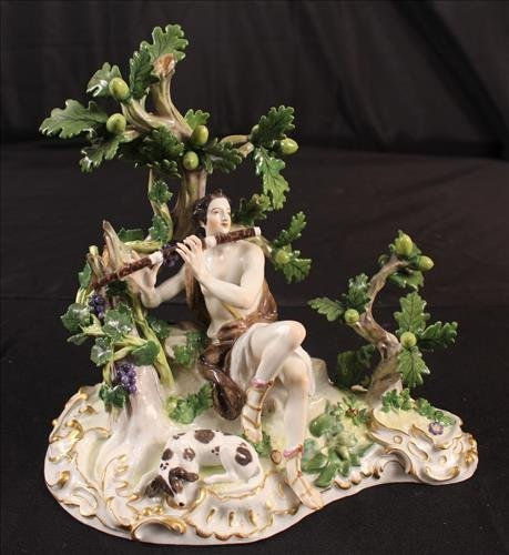 Meissen Figurine with crossed swords, man and dog