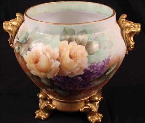 Hand painted Limoges jardiniere signed D & C France