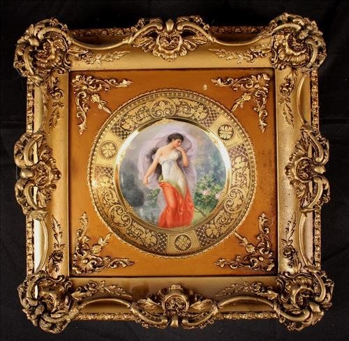 German hand painted plate of woman in garden