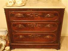 Walnut Victorian 3 drawer chest with marble top