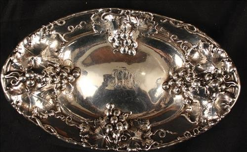 Sterling silver tray with grapes on rim