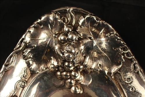 Sterling silver tray with grapes on rim - 2