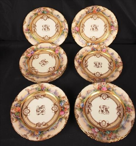 """Set of 10 """"LAMM """" Dresden luncheon plates, signed"""
