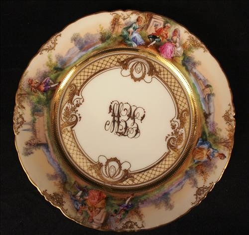 """Set of 10 """"LAMM """" Dresden luncheon plates, signed - 2"""