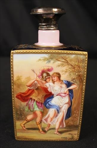 Large Royal Vienna whiskey flask, artist signed