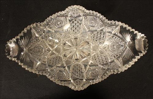 Brilliant cut glass bowl with very unusual form - 3