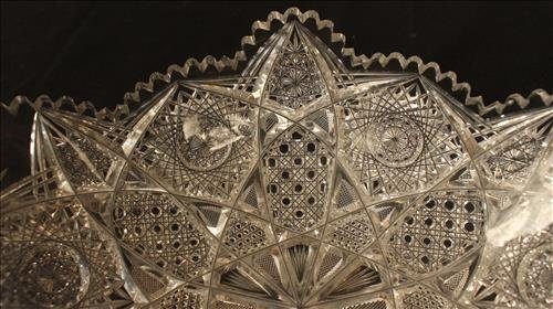 Brilliant cut glass bowl with very unusual form - 5