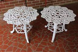 Pair cast aluminum patio tables 16 in T 215 in