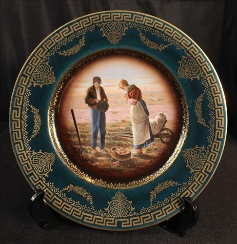 Royal Vienna plate with farm scene, gold and green
