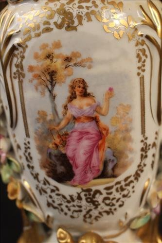 Porcelain Meissen vase, made into a lamp, 15.in. T - 2