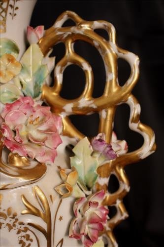 Porcelain Meissen vase, made into a lamp, 15.in. T - 3