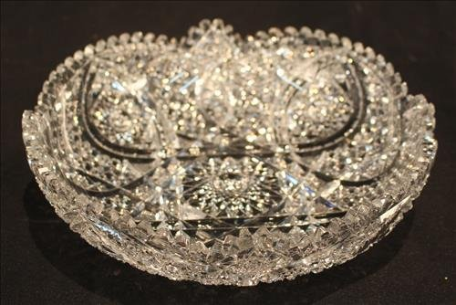 Brilliant cut glass bowl, 3 in. T, 10 in. R.