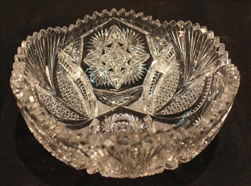Brilliant cut glass bowl, 3.5 in. T, 8 in. R.