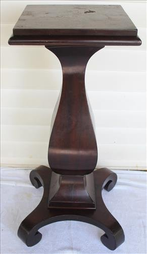 Solid mahogany Empire pedestal, 36 in. T, 16 in. Sq.