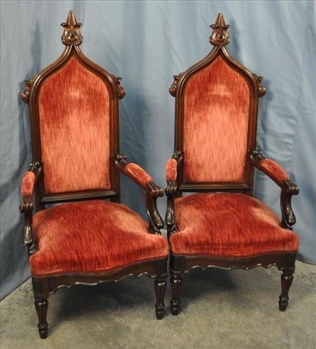 2 walnut Victorian Chairs, 54 in. T, 25 in. W, 23 in.