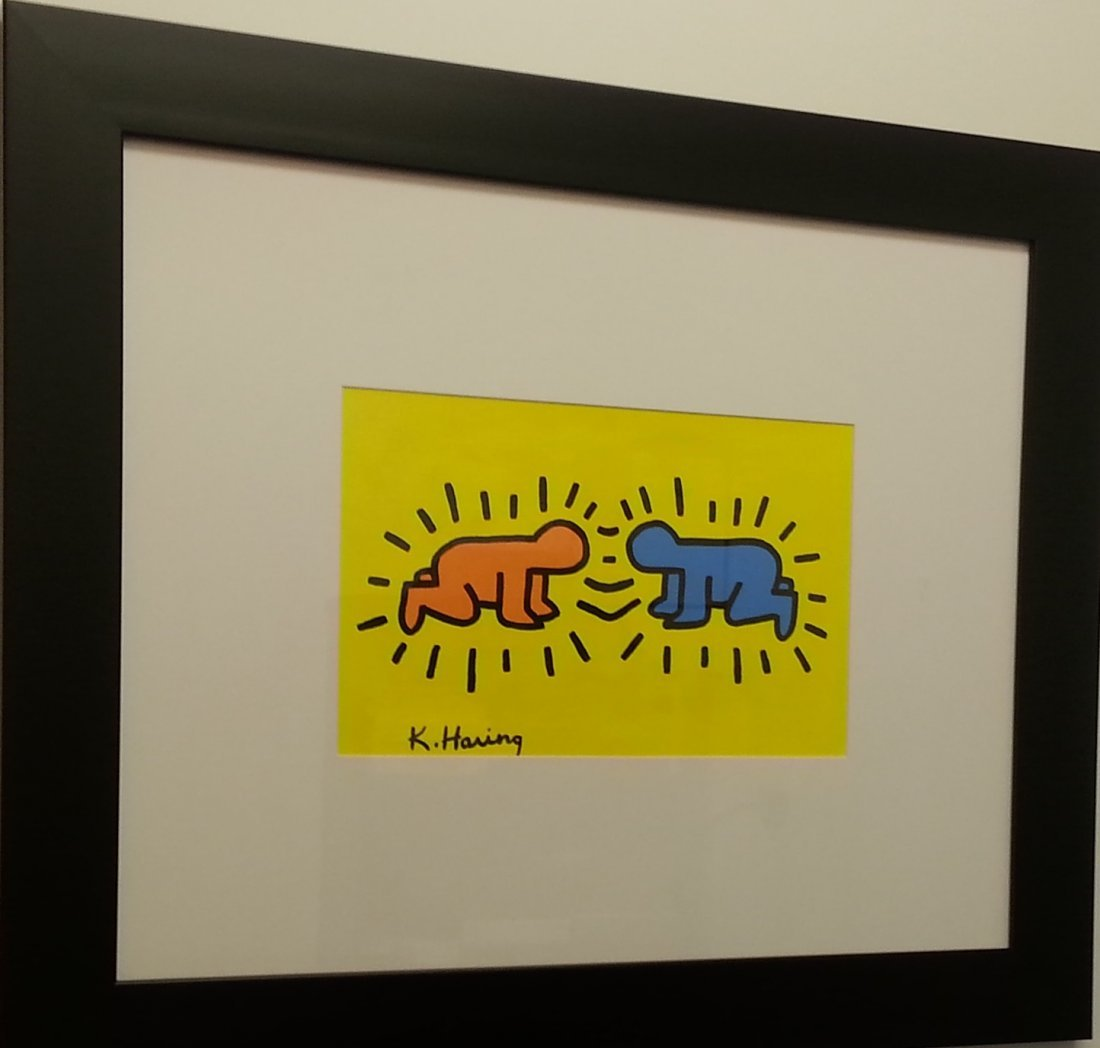Keith Haring painting on canvas paper in premium frame