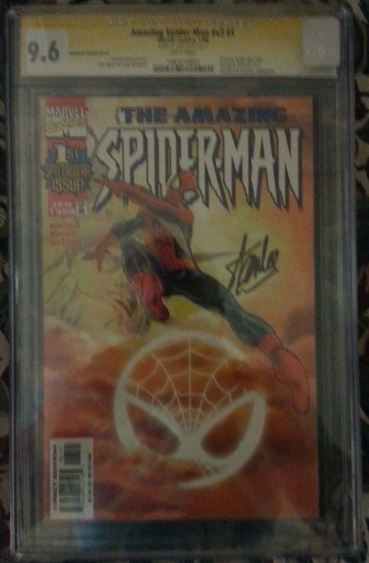 Signed Spider Man by Stan Lee and graded 9.6