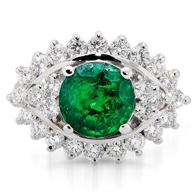 Beautiful Round Emerald & Diamond Ring., 75% BELLOW
