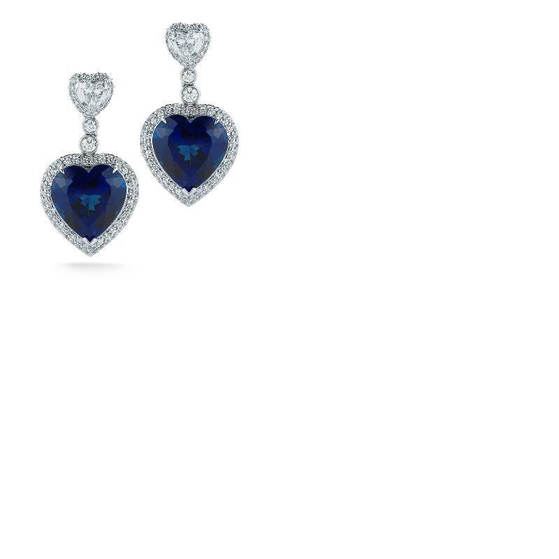Designer Heart Shaped Tanzanite & Diamond ., 75% BELLOW