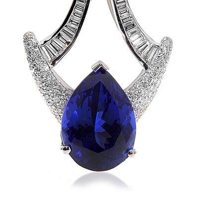 Designer Tanzanite Pear & Diamond Pendant.., 75% BELLOW