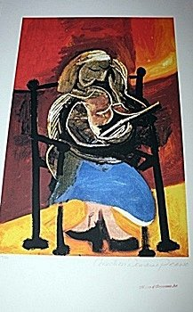 Limited Edition Picasso - Seated Woman Relaxing -