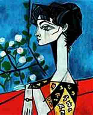 Portrait of Jacqueline Roque with flowers-Collection