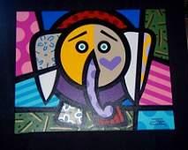 Jozza Elephant Original Hand Signed Acrylic on Canvas