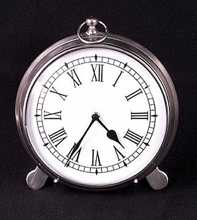 Pewter Finished Clock on Stand (51187)