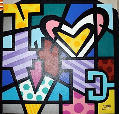 "Jozza ""Love with Heart"" Original Hand Signed Acrylic on"