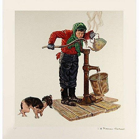 "Norman Rockwell ""WINTER MORNING"" LE ENCORE EDITION GOLD"