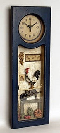 Rooster shadow box with clock (36592)