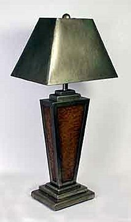 Lamp w/Gold Paper Shade (50681)